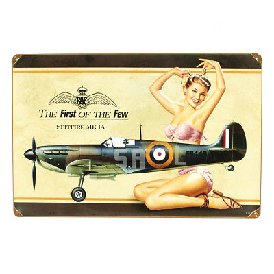 British WW2 Vintage Metal Sign Spitfire MkIA Pinup Girl