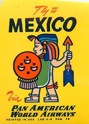 PAN AMERICAN Airline ~MEXICO~ Great Old Luggage Label, 1955