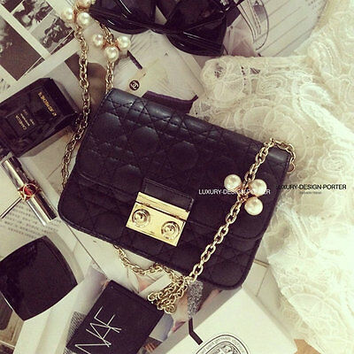 New Luxury leatherette Quilted women fashion Bag Pearl Chain shoulder bag