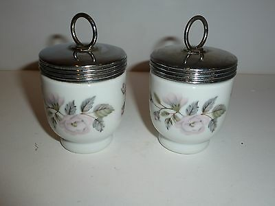 Pair Royal Worcester Egg Coddlers, Pastel Flowers and Leaves