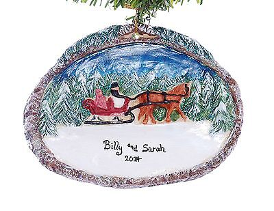 Horse and Sleigh Personalized Christmas Ornament Personalized Free (F34)