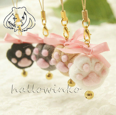 [DIY Wool Felt Craft] KIT - Palm Cell Phone Strap x 2 - Meow / Bear  + Free tool