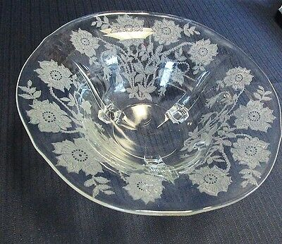 TIFFIN CORONET ETCHED GLASS 3 FOOTED SERVING BOWL 10 3/8""