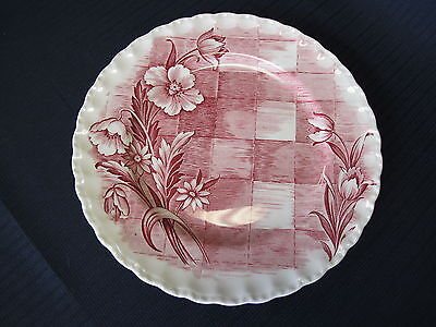 Grindley Trellis Rose 9 inch Luncheon Plate Made in England Floral Checker 1954