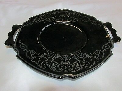 L E Smith Mayonnaise Under Plate in Black Amethyst 1931 Gimbels NYC Depression