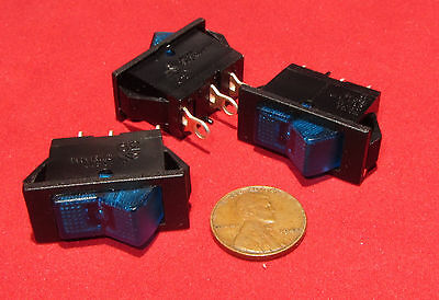 3 pieces - Swann 39 Blue Lighted Rocker Switch, SPST 15A 125VAC Snap In Lit, T85