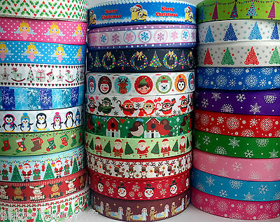 """✜ 1m CHRISTMAS GROSGRAIN RIBBON 7/8"""" 22mm Cake Bow Hair Gift Wrapping Present ✜"""