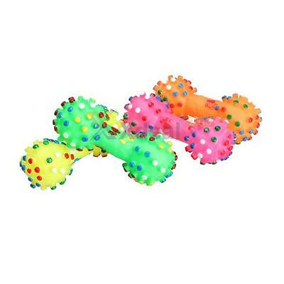 Pet Chew Toy Soft Small Rubber Bone Squeaky Toys Colorful Dot For Puppy Dog Cat