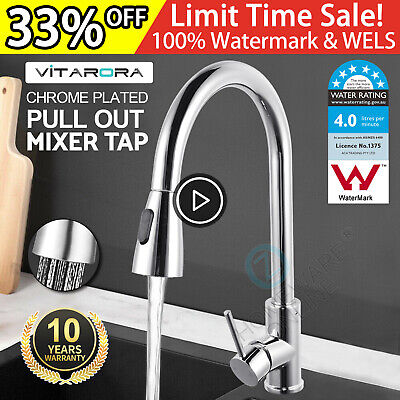 Swivel Pull Out / Down Kitchen Mixer Sink Tap Rainfall Shower Spout Spray Faucet