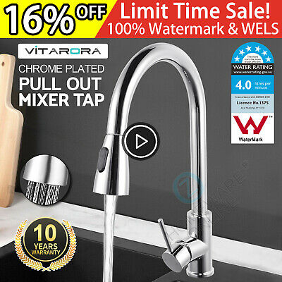 WELS Swivel Pull Out Down Kitchen Mixer Sink Tap Rainfall Shower Spray Faucet