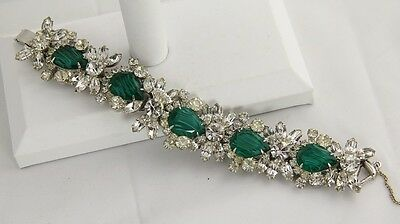 60s VINTAGE D&E JULIANA FLAWED EMERALD Rhinestone BOOK PIECE FIVE LINK BRACELET