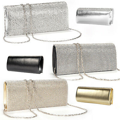 Womens Evening Bag Faux Leather Clutch Purse Bridal Diamante Crystal Cover Flap