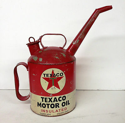 Vintage Replica Texaco Motor Oil Gasoline Can Spout Gas Station Pump Collectible