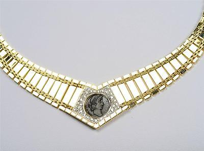 """Roman Bronze Coin A.D.337-361 in 14kt Gold """"Cleopatra Style"""" Diamond Necklace"""