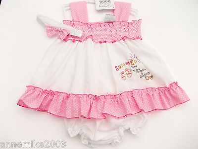 BNWT  baby girls yellow or pink dress knickers & hairband 9-12m 12-18 m  18-23 m