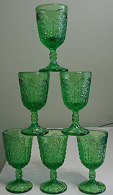 6 VINTAGE L.G. WRIGHT PRESSED GLASS BUTTON DAISY DOT JUICE/WINE GOBLETS GREEN
