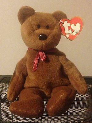 RARE RETIRED TY BEANIE BABY BROWN TEDDY BEAR NEW FACE 1st Gen TUSH 3rd Swing Tag