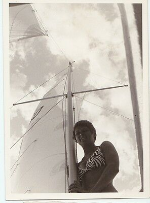 Original modernist snapshot photo Sailboat mast Woman in zebra-stripe bikini
