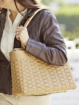 LONGABERGER WOVEN LEATHER STAIRSTEP WEAVE LARGE TOTE IN CARAMEL, HUGE HANDBAG!!
