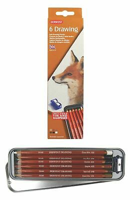 Derwent Drawing Pencil Tin - Authentic - Set of 6 Assorted