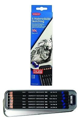 Derwent Watersoluble Sketching Pencils - Authentic - 6 Assorted