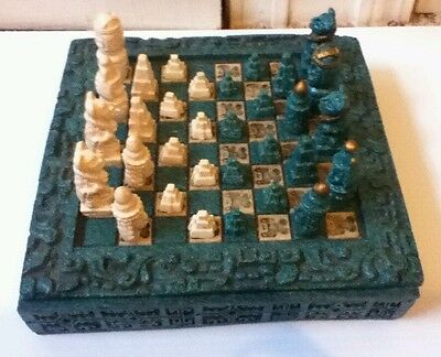 Vintage Mexican Aztec Mayan Chess Board Set Hand Carved Stone