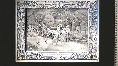 """Antique French Etching Silvered On Bronze Wall Plaque""""court Scene""""cherubs,framed"""