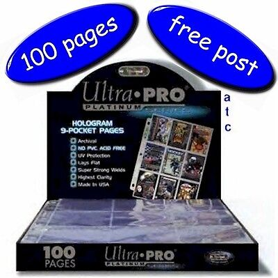 Ultra-Pro 9 Pocket Pages Platinum Series Multi-Hole - Box Of 100 - Free UK Post