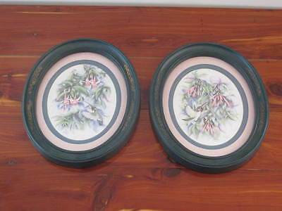 "Set of 2 Home Interior Oval Hummingbird Pictures 1983 approx 11"" x 9"""