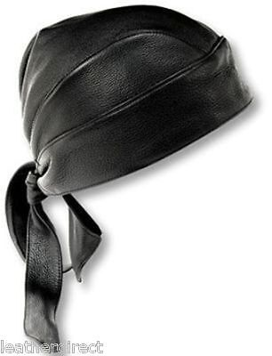 Motorbike Soft Leather Biker Head Wrap Black Bandana Cap Motorcycle Du-Rag Biker