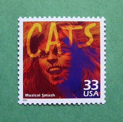 THE MUSICAL CATS IS COMMEMORATED ON A REAL POSTAGE STAMP