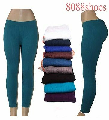 Seamless Cable Knit Skinny One Size Textured Slim Stretch Footless Leggings NEW