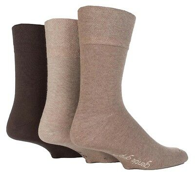 3 Pairs Mens Sock Shop Plain Brown Mix Gentle Grip Cotton Everyday Socks, 6-11