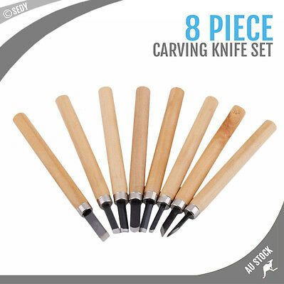 8 Piece Hobby Craft Knife Kit Carver Set Wood Knives Assorted Carving Sculpture