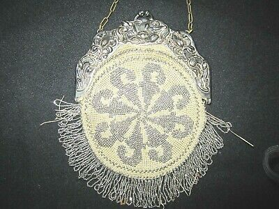 VTG French cut steel beaded Chatelaine purse-soft leather back/lining