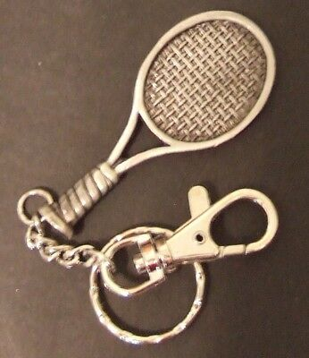 NEW Tennis Racket Key Chain Key Ring Pendant Gift Silver color