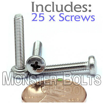 M3 x 18mm - Qty 25 - Stainless Steel Phillips Pan Head Machine Screws DIN 7985 A
