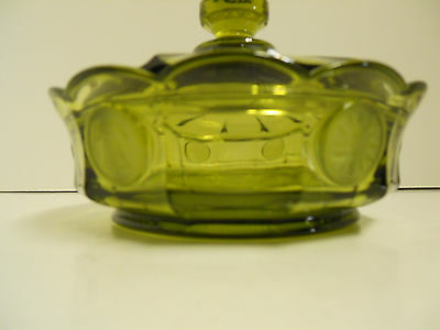"""Vintage Fostoria Coin Pattern Green Glass 6-1/4"""" Covered Candy Bowl"""