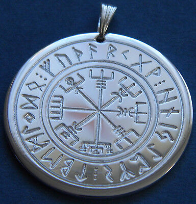 Viking compass in Rune circle, Amulet, Brass silver plated