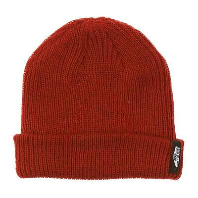 ffba96bf Vans Off The Wall Mismoedig Beanie Rust Red Cuff Hat 100% Acrylic New NWT