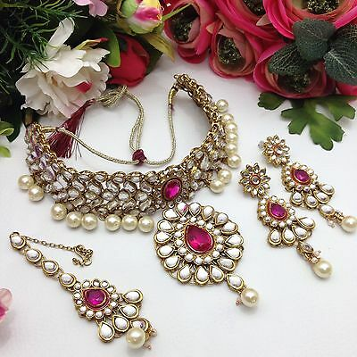 indian Jewellery Bollywood Party Asian Bridal Ethnic Wear Kundan Necklace Set
