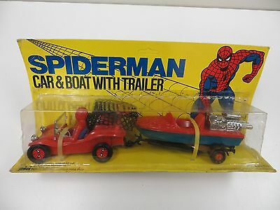 VINTAGE MARVEL COMICS 1978 SPIDERMAN CAR AND BOAT WITH TRAILER MINT IN PACKAGE