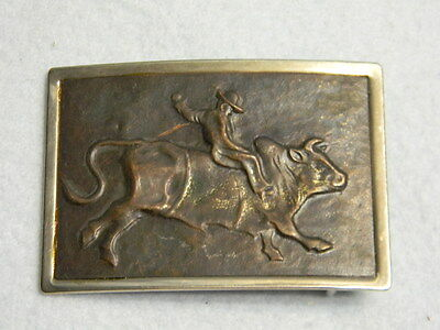 Rare Vintage BRONZE & Nickel Silver COWBOY / RODEO / BULL RIDING Belt Buckle