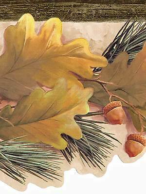 - Sale $ Golden Oak Leaves & Acorns on Pine Branch  45 feet Wallpaper Border 592
