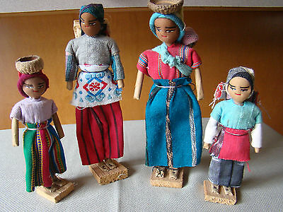 Lot of 4 Vintage Peruvian Dolls in Colorful Clothing on Wooden Bases 431442