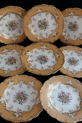 SET 8 ANTIQUE MINTON for TIFFANY & CO LUNCHEON DINNER PLATES hand painted flower