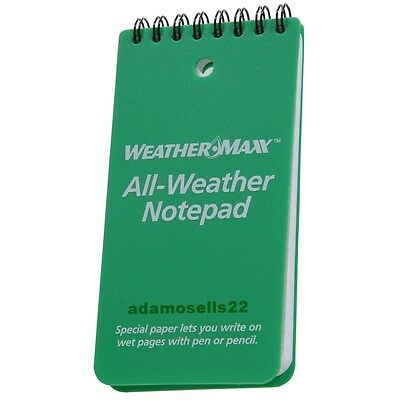 """WEATHERMAX ALL WEATHER 6"""" x 3"""" NOTEPAD, SPECIAL PAPER REMAINS WRITEABLE READABLE"""