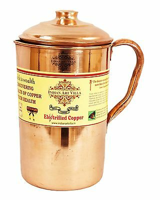 Handmade Pure Copper Jug With Lid  For storage drinking Water Indian Ayurveda
