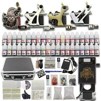 Kit de Tatouage Tattoo Complets 4 Machine à Tatouer Gun Alimentation 40 Encre