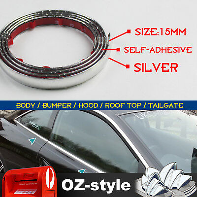 15mm Chrome DIY Moulding Trim Strips For Car Window Bumper Roof Silver 3 Meters
